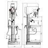 Masina de gaurit cu coloana si transmisie prin curea Optimum B 30 BS Vario - dimensiuni de gabarit