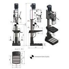 Masina de gaurit cu angrenaj si coloana Optimum DH 32GS - dimensiuni de gabarit