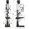 Masina de gaurit cu Optimum DH 32GSV - dimensiuni de gabarit