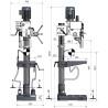 Masina de gaurit cu angrenaj si coloana Optimum B 40 E - dimensiuni de gabarit
