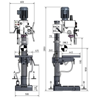 Masina de gaurit cu angrenaj si coloana Optimum B 40 PTE - dimensiuni de gabarit