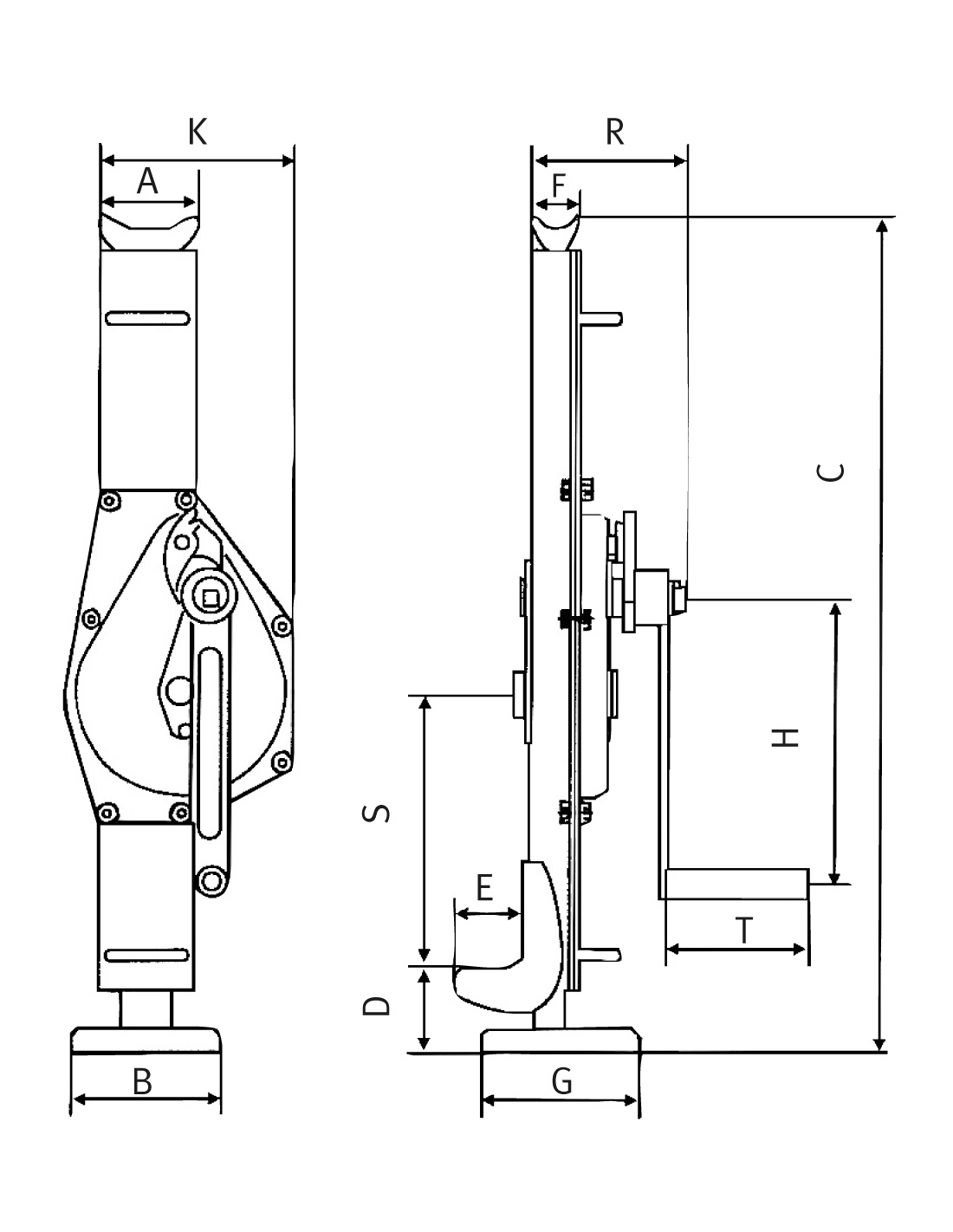Vinci de otel cu cremaliera Unicraft SW 3 - dimensiuni de gabarit