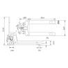 Transpalet standard Unicraft PHW 2505 K - dimensiuni de gabarit