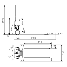 Transpalet cu cantar si imprimanta Unicraft PHW 2002 WP - dimensiuni de gabarit