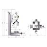 Masina de gaurit si frezat Optimum BF 16 Vario - dimensiuni