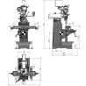 Masina de gaurit si frezat Optimum MF 1 Vario - dimensiuni