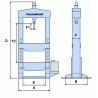 Presa hidraulica de atelier Metallkraft WPP 50 BK - dimensiuni
