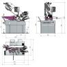 Ferastrau semi-automat pentru metal cu taiere cu mitra dubla Optimum S 350 AV - dimensiuni