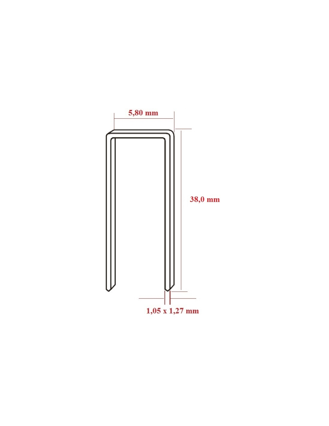 Capse tip U 90 cu lungimea de 38,0 mm - dimensiuni
