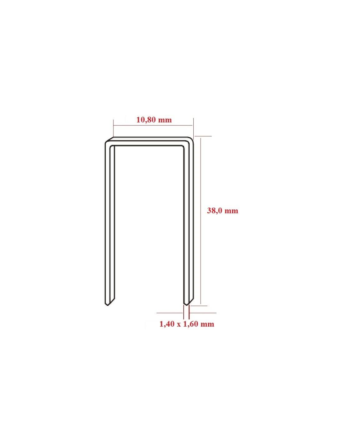 Capse tip N cu lungimea de 38,0 mm - dimensiuni