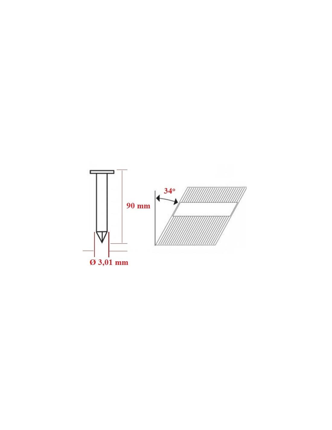 Cuie tip RN in benzi 34° cu lungimea de 90 mm - dimensiuni