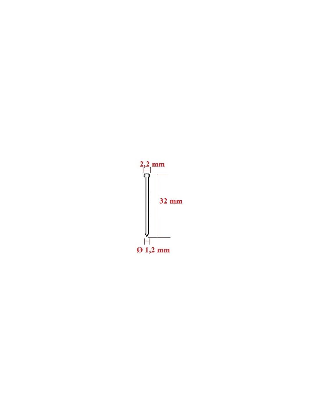 Cuie cu cap matritat tip F cu lungimea de 32 mm - dimensiuni