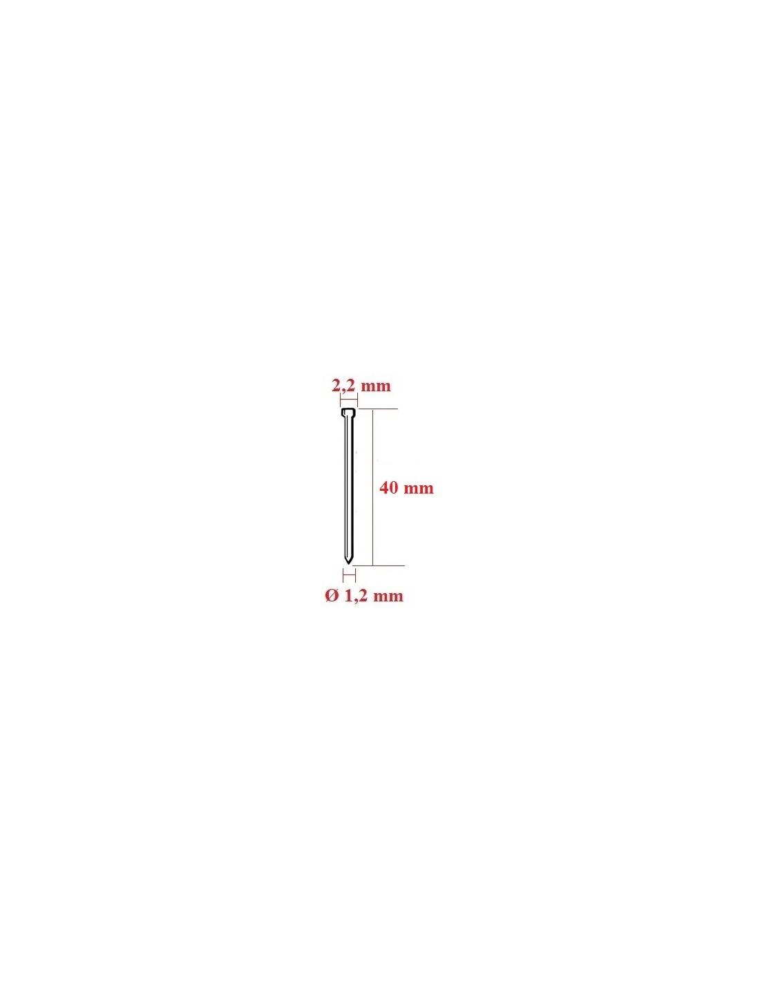 Cuie cu cap matritat tip F cu lungimea de 40 mm - dimensiuni