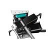 Aceasta masina detine un sistem de prindere cu falci prismatice stabile pentru tevi, materiale plate si patrate