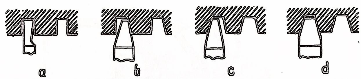 strung metal - prelucrarea filetului trapezoidal cu patru cutite - a b c - faze de degrosare - d - finisare